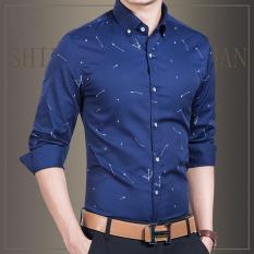 Harga Termurah Baju Lengan Panjang Pria Slim Fit Gaya Kora Biru Tua Biru Tua
