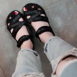 Beli Kasual Perempuan Datar Musim Panas Sandal Pantai Baotou Sandal Summer 7225 Hitam Lengkap