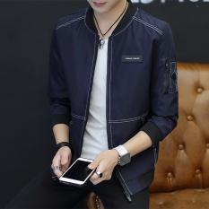 Beli Kasual Pria Korea Fashion Style Jas Musim Semi Jaket Biru Tua Warna 318 Online Terpercaya