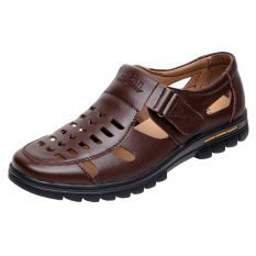 Sepatu Crocs Pria Kulit Asli Berongga Santai (668 coklat) (668 coklat)