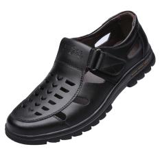 Sepatu Crocs Pria Kulit Asli Berongga Santai (668 hitam) (668 hitam)