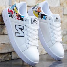 Kebugaran kasual putih laki-laki remaja sepatu sepatu sepatu (6145 hitam dan putih)
