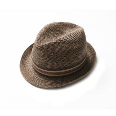 Rafi Topi Jazz Musim Semi atau Musim Panas Topi Pantai Pantai (Pita Warna Coklat)