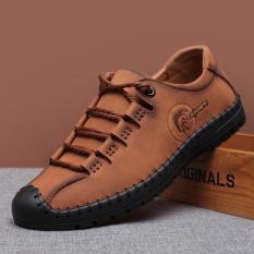 Harga Sepatu Kulit Alas Lembut Bertali Inggris Pria Coklat Muda Coklat Muda Terbaru