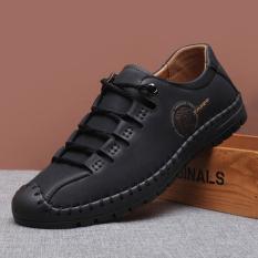 Review Sepatu Kulit Alas Lembut Bertali Inggris Pria Hitam Hitam