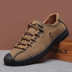 Jual Sepatu Kulit Alas Lembut Bertali Inggris Pria Khaki Khaki