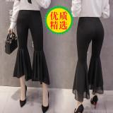Beli Kasual Sifon Musim Semi Dan Musim Panas Baru Kulot Celana Cutbray Hitam Lengkap