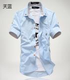 Kasual Warna Solid Remaja Siswa Kemeja Kemeja Hitam Baju Atasan Kaos Pria Kemeja Pria Terbaru