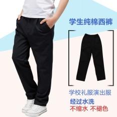 Katun Elastis Warna Polos Pria atau Wanita Anak Celana Sekolah Coklat Muda Celana Cargo (Hitam Celana Panjang Ikat Elastis)