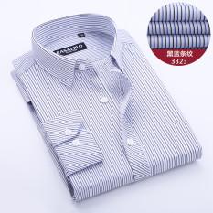 Harga Kemeja Pria Lengan Panjang Katun Garis Garis Bisnis Model Tipis Hitam Dan Biru Bergaris 3323 Baju Atasan Kaos Pria Kemeja Pria Terbaru