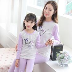 Katun Lycra Lengan Panjang Model Musim Semi Anak-anak Pakaian Dalam Baju Rumah (Keranjang Bunga Ungu)