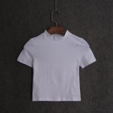 Warna Polos Terkena Pusar Ramping Atasan Ayat Pendek Kaos (Putih)