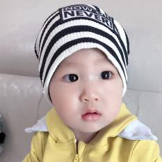 Katun Sayang Topi Baru Bayi Baru Lahir Topi Bayi Helm (0-48 Bulan + Hitam Panjang Lengan Lengan Bergaris)