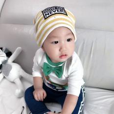 Katun Sayang Topi Baru Bayi Baru Lahir Topi Bayi Helm (0-48 Bulan + Kuning Lengan Bergaris)