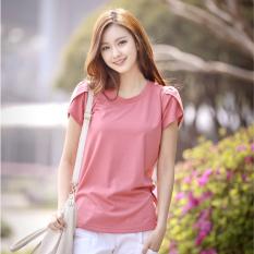 Kaos Baru Lengan Pendek Baju Kaos Katun Warna Solid (Merah muda)