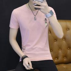 Katun Sederhana Pria Lengan Pendek Kaos Baju Dalaman (Merah Muda)