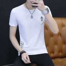 Katun Sederhana Pria Lengan Pendek Kaos Baju Dalaman (Putih)