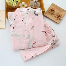 Katun Wanita Lengan Panjang Imut Baju Tidur Kimono Baju Tidur (Merah Muda Derek Gaya Jepang Lengan Panjang Celana Panjang Baju Tidur)