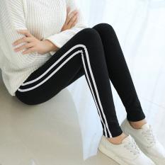 Jual Legging Katun Celana Pensil Tambah Beludru Perempuan Lebih Tebal Sisi Sisi Putih Model Hitam Grosir