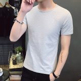 Toko Katun Warna Solid Leher Bulat Pria Pria Katun Lengan Pendek T Shirt Bottoming Kemeja Abu Abu Online Tiongkok