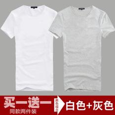 Katun Warna Polos Leher Bulat Ramping Kaos Baju Dalaman (Leher Bulat Pendek Putih + Leher Bulat Pendek Abu-abu abu)