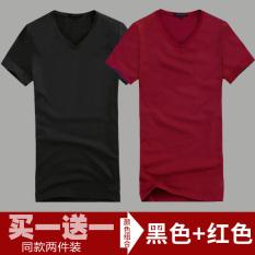 Katun Warna Polos Leher Bulat Ramping Kaos Baju Dalaman (Leher-v Pendek Hitam + Leher-v Pendek Merah Keunguan) baju Atasan Kaos Pria Kemeja Pria
