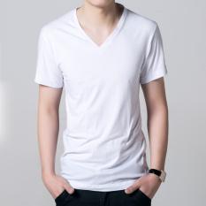 Katun Warna Polos Orang Gemuk Kerah V Baju Dalaman Kaos (Putih)