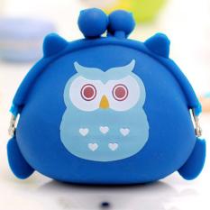 Kawaii Hadiah Ulang Tahun Kartun Owl Dompet Koin Silikon Jeli Mini Dompet Biru
