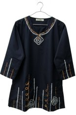 Beli Kawung Baju Wanita Blouse Wanita Tunik Wanita Baju Muslim Bj 001 Hitam Lengkap