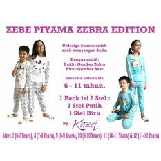 Kazel Zebe Kids Teens Long Pajamas Piyama Panjang Zebra Edition 2in1