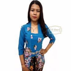 Kebaya Kutubaru / Kebaya Modern / Baju Buble Motif Bunga Anggrek - Biru