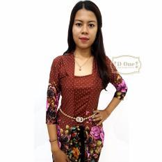 Kebaya Kutubaru / Kebaya Modern / Baju Buble Motif Bunga Polkadot - Brown