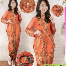 Kebaya Pesta / Stelan Kebaya Moderen / Kebaya Menceng Warna Orange Plus Inner Ready Size M.L Dan XL