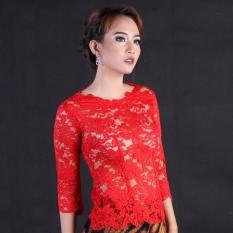 Baju Wanita Grosir Fashion Kebaya Polos Kebaya Modern Kebaya Wisuda Brokat Bunga RR1736 Merah Arcobaleno Kebaya Pesta Kebaya Payet Kebaya Domas Kebaya Among Tamu