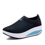 Kebugaran Kasual Perempuan Baru Sol Tebal Sepatu Wanita Sepatu Goyang Hitam Cahaya Bulan Promo Beli 1 Gratis 1