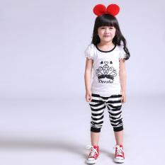 Harga Kebugaran Korea Fashion Style Kapas Musim Panas Bergaris T Shirt Putih Yang Murah
