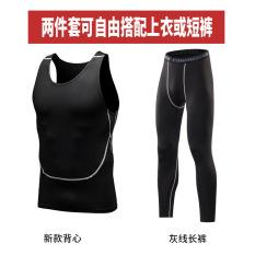 Spesifikasi T Shirt Kebugaran Lengan Pendek Pria Lengan Pendek Membentuk Tubuh Pakaian Rompi Garis Abu Abu Celana Panjang Celana Jas Baru