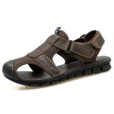Promo Kebugaran Luar Rumah Kulit Kasual Tergelincir Sandal Summer Sandal Summer Coklat Gelap Murah