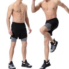 Kebugaran pria musim panas berjalan celana pendek (Abu-abu palsu dua)