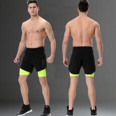 Kebugaran pria musim panas berjalan celana pendek (Neon hijau palsu dua)