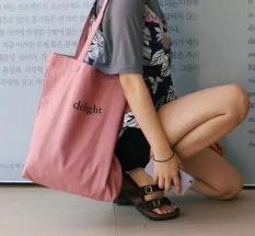 Spesifikasi Kecil Bening Kain Merah Muda Buku Tas Bahu Dengan Satu Tali Tas Surat Kanvas Tas Merah Muda Renda Ayat Murah