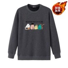 Kecil Gemuk Tambah Beludru Baru Remaja Ukuran Plus Kode Katun Lengan Panjang Kaos Sweater (Kartun Kuda Abu-abu gelap)