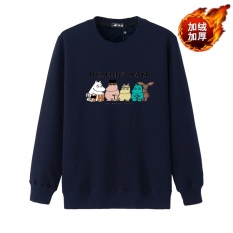 Kecil Gemuk Tambah Beludru Baru Remaja Ukuran Plus Kode Katun Lengan Panjang Kaos Sweater (Kartun Kuda Biru Tua)