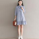 Gaun Wanita Bahan Linen Model Daun Teratai Motif Salur Lengan Panjang Sedang Biru Baju Wanita Dress Wanita Gaun Wanita Murah