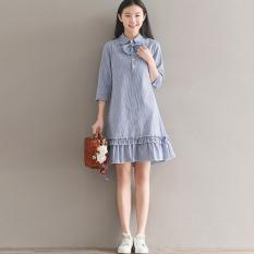 Beli Gaun Wanita Bahan Linen Model Daun Teratai Motif Salur Lengan Panjang Sedang Biru Baju Wanita Dress Wanita Gaun Wanita