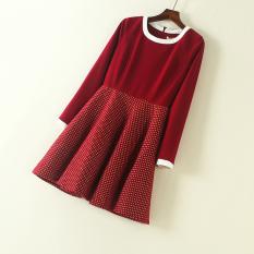 Kecil Kotak-kotak Korea Fashion Style Sutra Cerah Baru Ritsleting Gaun Rok (Gambar Warna Gaun) baju wanita dress wanita Gaun wanita