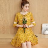 Harga Kecil Segar Perempuan Bagian Panjang Kecil Rok Sifon Gaun Kuning Tiongkok