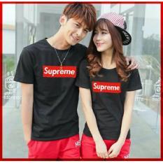 Kedai baju kaos couple murah berkualitas / t-shirt pasangan / CP Supreme hitam - LZ