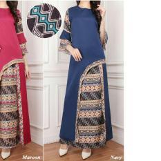 Kedai baju Set muslim / hijab murah berkualitas / Batik Morena Set Navy - IA