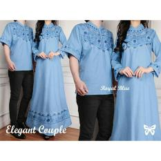 Beli Kedai Baju Baju Couple Baju Pasangan Muslim Batik Couple Elegant Biru Cicilan